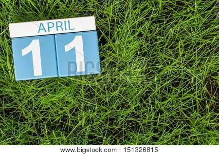 April 11th. Day 11 of month, calendar on football green grass background. Spring time, empty space for text.
