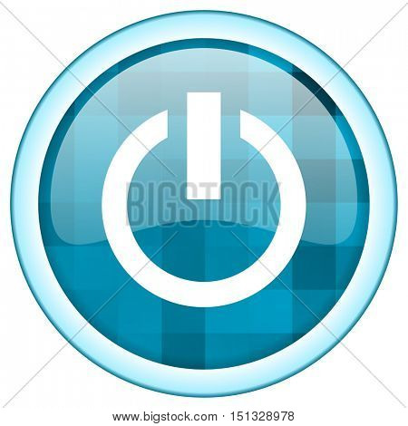 Blue circle vector power icon. Round internet glossy start button. Webdesign graphic element.