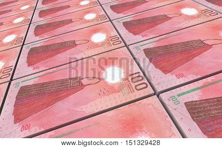 Maldivian rufiyaa bills stacks background. 3D illustration.