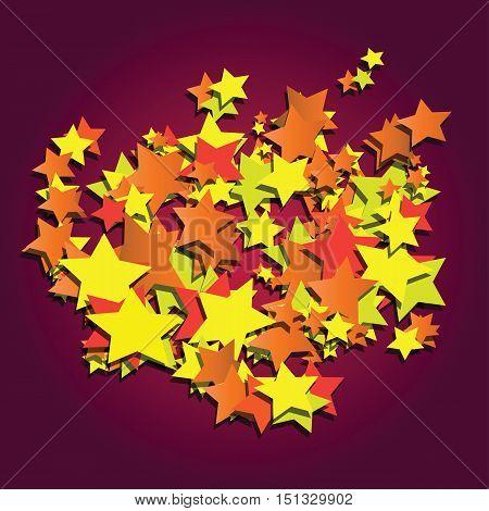 stars spreading on dark purple background abstract vector illustration
