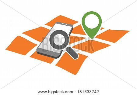 mobile phone with magnifying glass on geo gps map marked as geo location searching symbol abstract vector illustration isolated on white