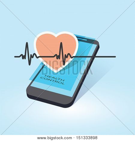 mobile device with heart beat symbol as online health control vector illustration