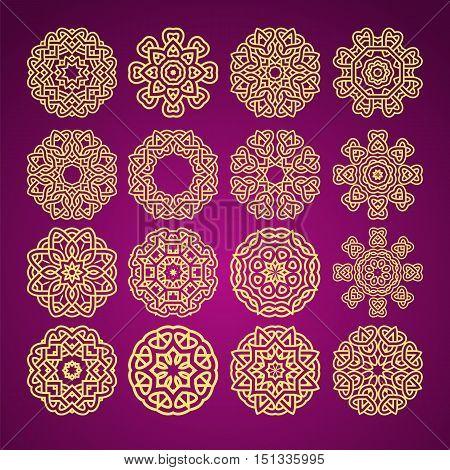 mandala flower motif with heart symbol abstract pattern set vector bright yelllow on dark violet background illustration