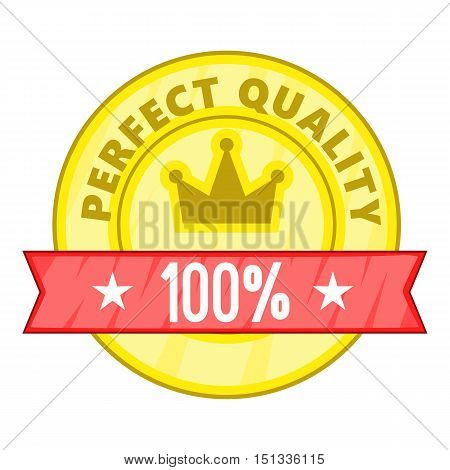 Perfect quality label icon. Cartoon illustration of perfect quality label vector icon for web