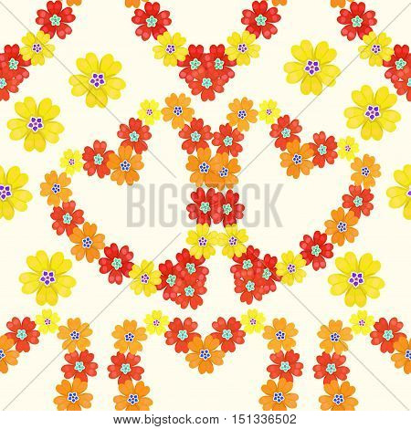 Seamless Pattern Spring Polyanthus Primula Flowers Heart. Vector Illustration