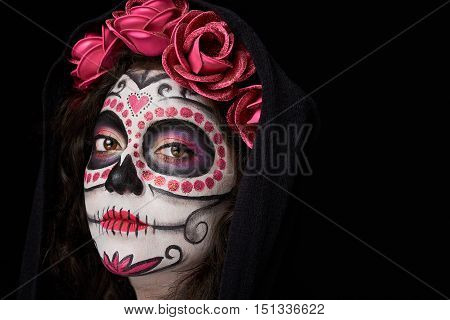 Painted Woman Face In Cloak