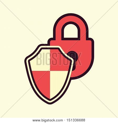 padlock shield protection safeguard symbol abstract vector illustration