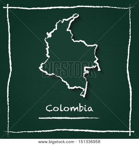 Colombia Outline Vector Map Hand Drawn With Chalk On A Green Blackboard. Chalkboard Scribble In Chil