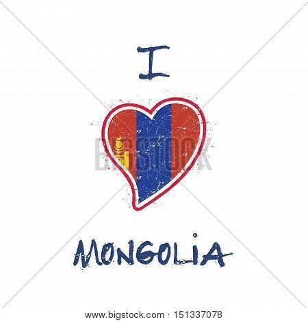 Mongolian Flag Patriotic T-shirt Design. Heart Shaped National Flag Mongolia On White Background. Ve
