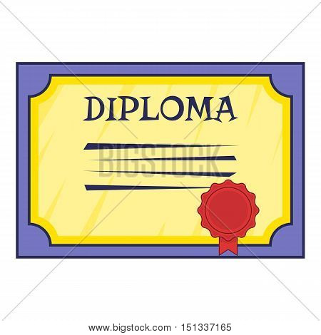 Diploma icon. Cartoon illustration of diploma vector icon for web