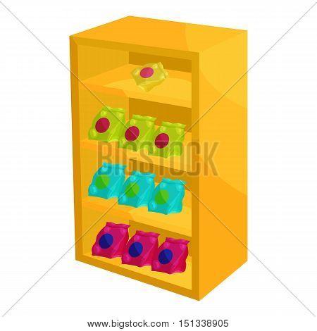 Supermarket shelf with cookies icon. Cartoon illustration of shelf with cookies vector icon for web