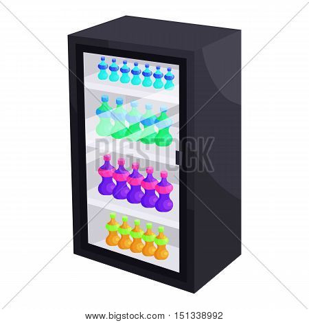 Fridge with refreshments drinks icon. Cartoon illustration of fridge vector icon for web