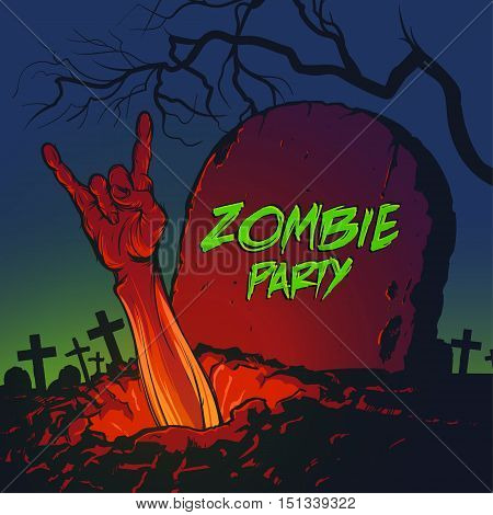 Halloween vector illustration. Zombie hand coming out from the grave and showing rock gesture. Cool zombie party invitation.