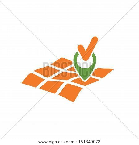 gps map with geo mark and tick symbols as geo location found abstract vector illustration isolated on white