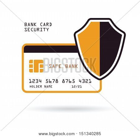 bank credit card with shield security ecommerce protection financial concept vector illustration