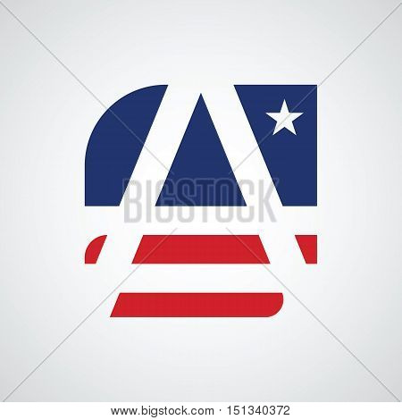 Stylized letter A as American flag symbol vector illustration