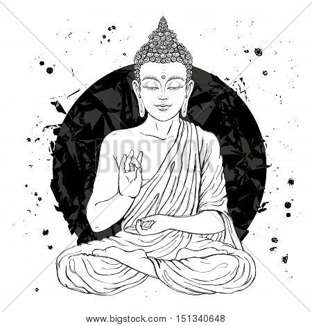 Seated Buddha in the lotus position. Vector illustration on white background with a smear of ink black. The esoteric concept. The spiritual art. Thai god. Excellent ethnic print on a T-shirt.