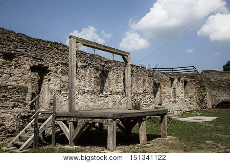 Scaffold for the execution of the death penalty. The gallows and scaffold to the fortress.