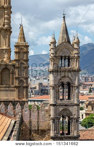 Tower Of The Palermo Cathedral In Palermo, Sicily