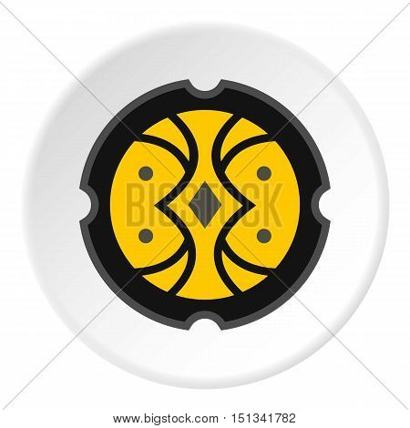 Round battle shield icon. Flat illustration of shield vector icon for web design