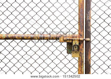 doors rusted iron fence locked  isolated on white background