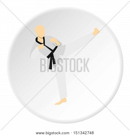 Karate fighter icon. Flat illustration of karate fighter vector icon for web design
