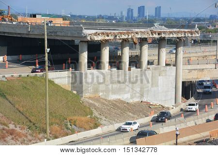 MONTREAL CANADA 10 04 2016: After almost 50 years of service, the Turcot interchange 1 of the most important in Quebec which has a traffic volume of more than 300 000 vehicles per day, must be rebuilt