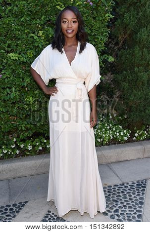 LOS ANGELES - SEP 25:  Aja Naomi King arrives to the The Rape Foundation Annual Brunch on September 25, 2016 in Hollywood, CA