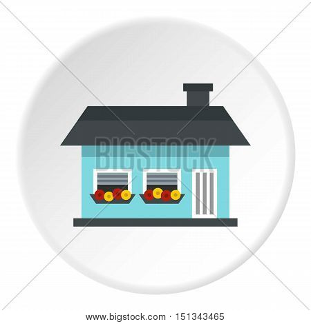 One storey house with two windows icon. Flat illustration of one storey house with two windows vector icon for web