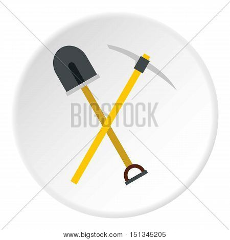 Shovel and pickaxe icon. Flat illustration of shovel and pickaxe vector icon for web
