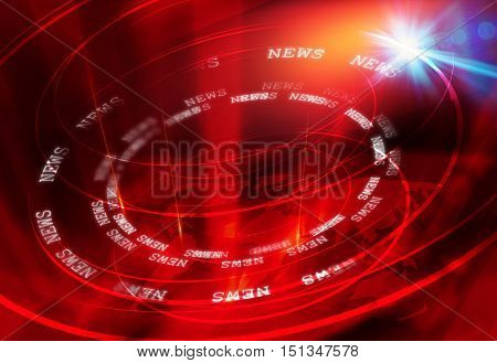 Graphical Modern Studio News Background Suitable for Internet and Tv News. Multipe Round Circle Around The Earth Map with Lens Flare Effect.