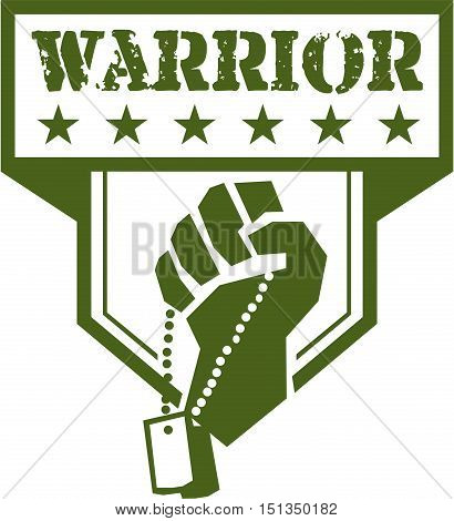 Illustration of a hand of a soldier clutching holding dogtag viewed from front set inside shield crest with stars and the word text Warrior done in retro style.