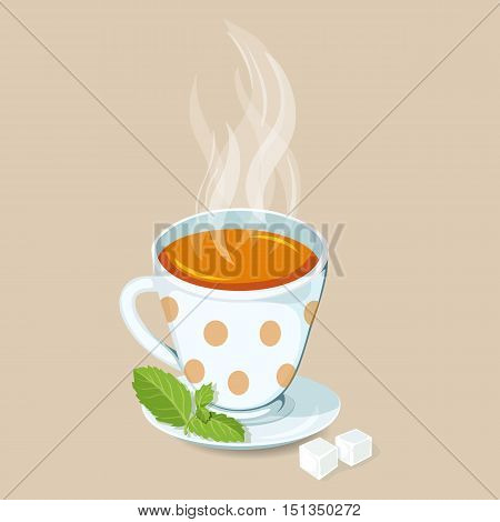 Hot tea with mint and sugar. Green tea hot drinks icon. Cap of hot tea with mint and sugar vector illustration. Breakfast drinks. Teatime