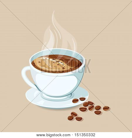 Hot coffee with coffee bean. Espresso hot drinks icon. Cap of hot espresso with coffee bean vector illustration. Breakfast drinks. Espresso with foam