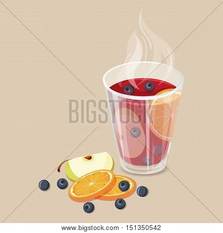 Punch. Christmas hot drinks icon. Vector illustration with punch. Hot mulled wine drinks. Mulled wine winter beverage