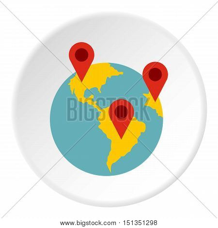 Planet GPS signs icon. Flat illustration of planet GPS signs vector icon for web