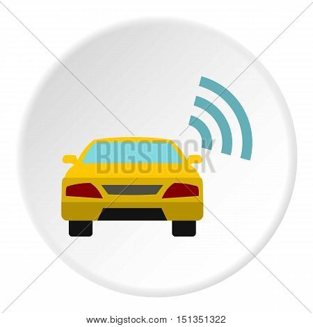 Ordering taxi via GPS icon. Flat illustration of ordering taxi via GPS vector icon for web