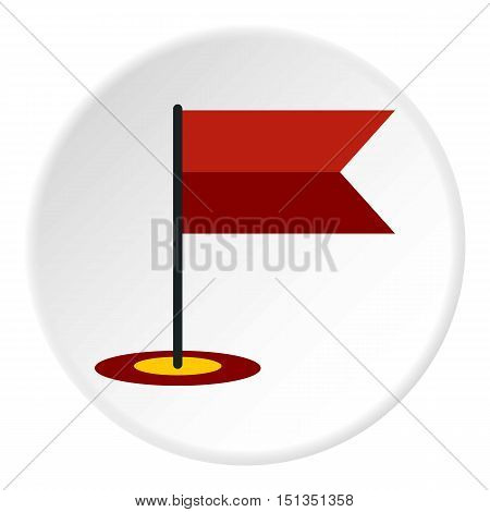 Flag in GPS icon. Flat illustration of flag in GPS vector icon for web