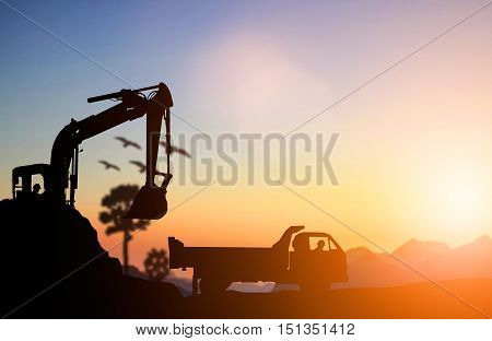 silhouette Excavator and truck working at construction site. Construction used heavy machinery to move earth. concept construction and heavy industry machine will be used in heavy industry business.