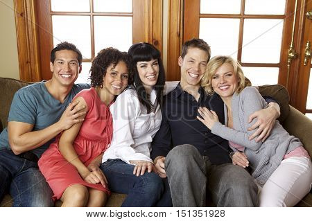 Attractive Group of Diverse Young Adult Friends Smiling