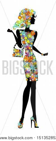 Beautiful young woman in sensual state covered with flowers. Stock vector illustration