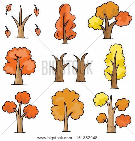 Set of vector trees doodle collection stock