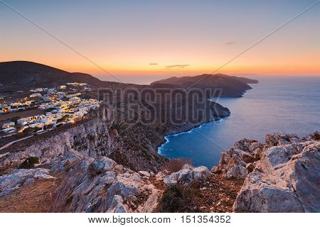 View of Folegandros village and surrounding landscape.