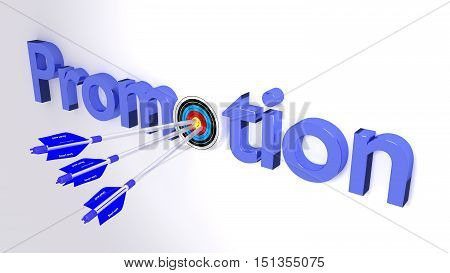 The word promotion where the o is a target hit by three blue arrows textured with smart work career concept 3D illustration