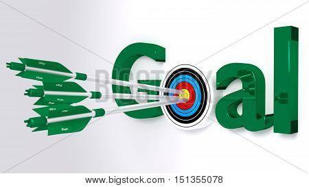 The word goal where the o is a target hit by three green arrows textured with plan achievement concept 3D illustration