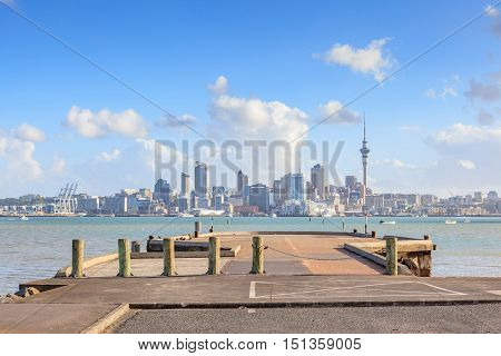 Beautiful cityscape of Auckland sky tower and city in New Zealand.