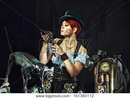 Steam-punk girl portrait . fantasy portrait . The girl mechanic with your metal friends