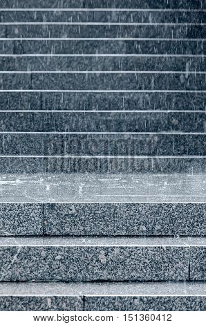 Stone Steps Of Staircase With Raindrops Splashes During Heavy Rain
