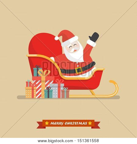 Santa claus on a sleigh with piles of presents. Vector illustration