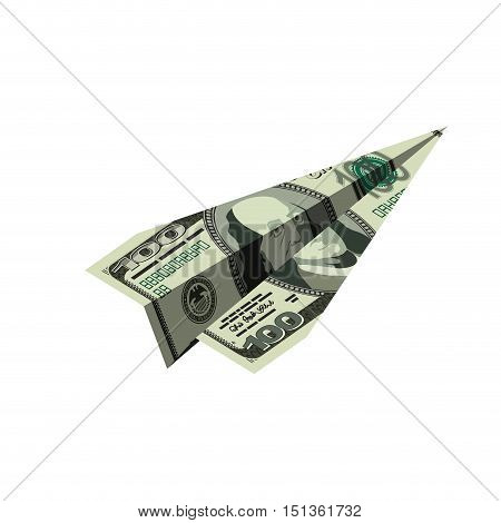 Aircraft Dollars. Money Banknote Paper Airplane. Financial Illustration